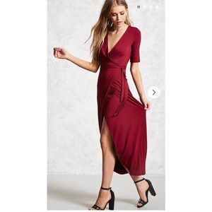 Forever 21 Wine Wrap High Split Short Sleeve Dress